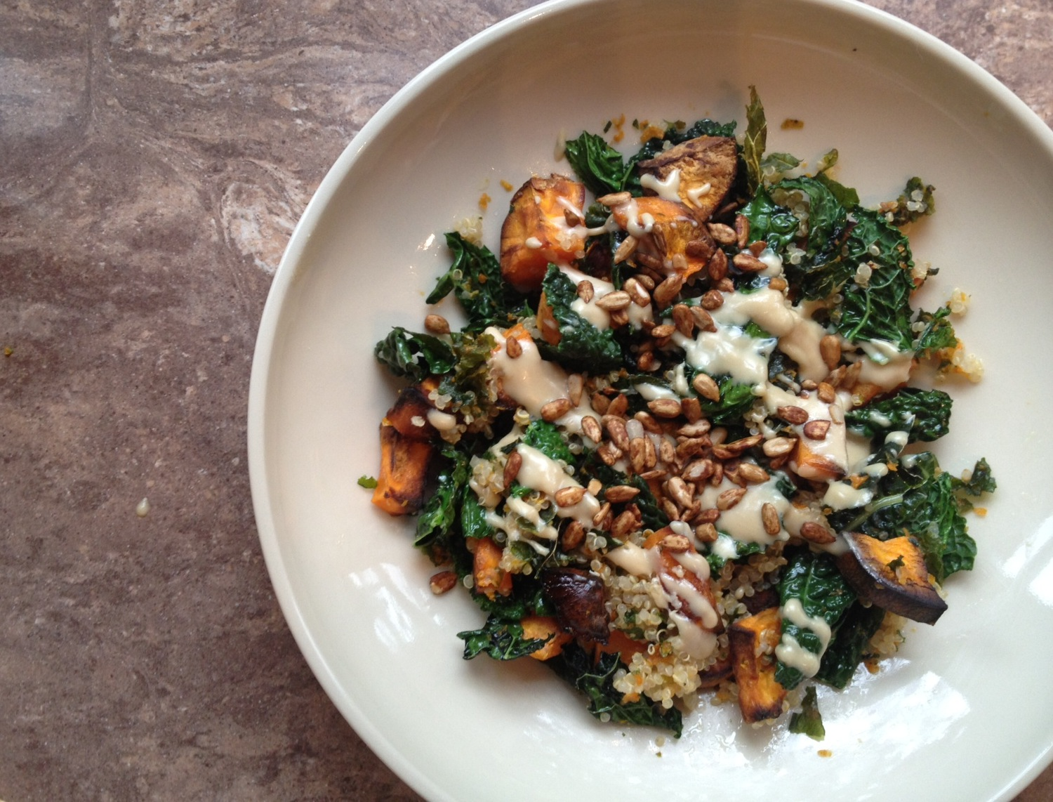 healthy ] – kale, sweet potato and quinoa salad – Peta Serras